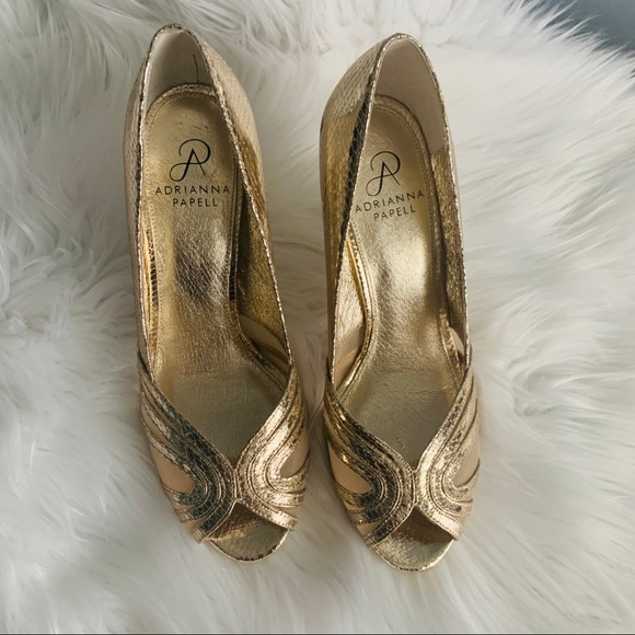 Adrianna Papell Shoes - Adrianna Papell gold tone peep toe shoes